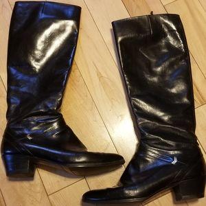 Salvatore Ferragamo tall black leather boots 6.5
